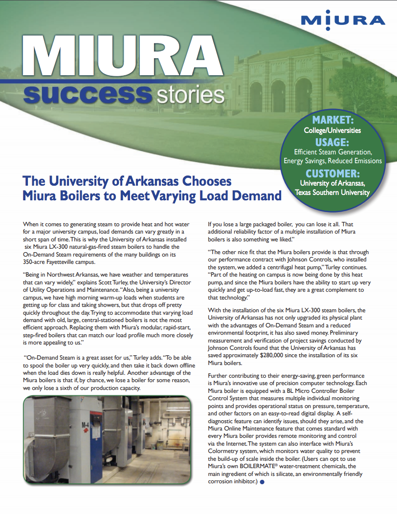 University of Arkansas Saves Hundreds of Thousands on Energy Bills with Miura Boilers