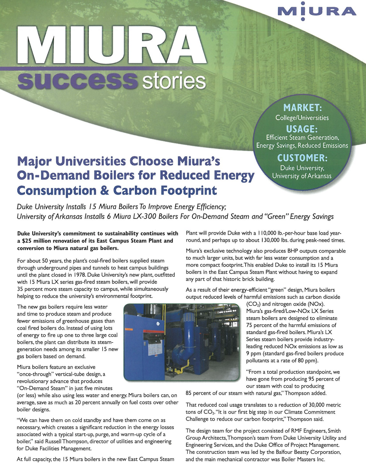 Duke University Reduces Carbon Footprint and Saves Energy with Miura Boilers