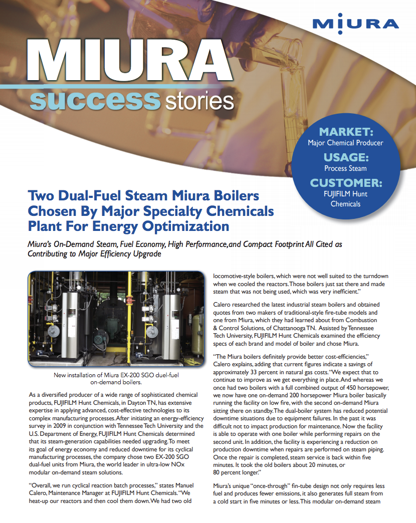 FUJIFILM Hunt Chemicals Reduces its Energy Footprint with Miura Boilers