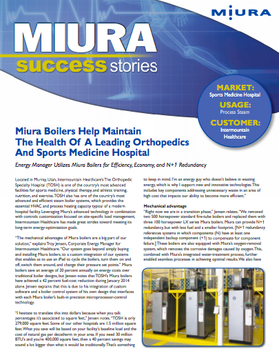 Intermountain Healthcare Lowers Emissions with Miura Boilers