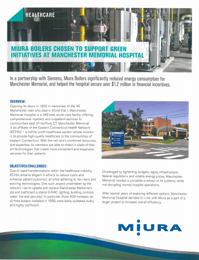 Manchester Memorial Hospital Goes Green With Miura Boilers
