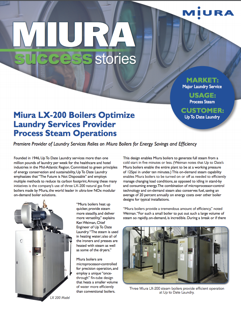 Miura Boilers Help Up to Date Laundry Reduce Carbon Footprint, Increase Efficiency