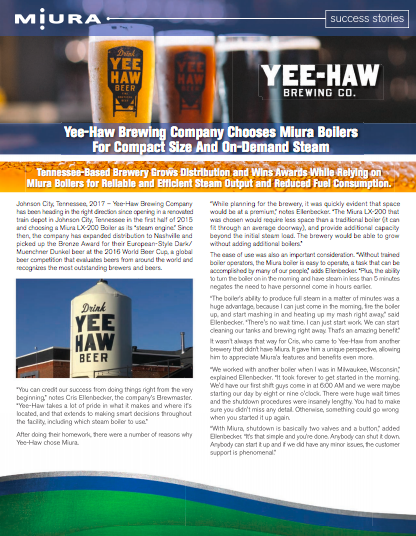 Yee-Haw Brewing Expands Distribution & Wins Awards with Miura Boilers